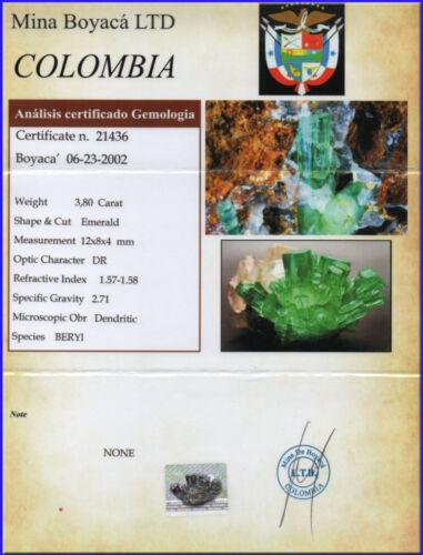 SMERALDO COLOMBIA CERTIFICATO In Blister Certfied Taglio EMERALD Kt 3,80