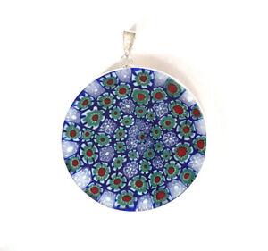 Murano-Glas-Schmuck-Ketten-Anhaenger-36mm-rund-925-Sterlingsilber-blau-gruen-rot