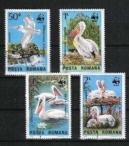 Pelicans of the Danube Delta set of 4 cto stamps 1970 Romania #3232-5 birds