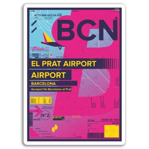 2 x 10 cm El Prat aéroport Vinyle Autocollants-Espagne autocollant ordinateur portable bagages #17172