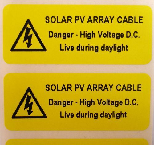 Yellow 50mm x 20mm SOLAR DC D.C CABLE Electrical Safety Warning Labels