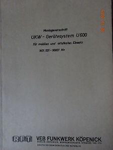 UKW-Geraetesystem-U600-Montagevorschrift-105-Seiten-RFT-Funkwerk-Koepenick