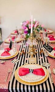 Black And White Table Runner 108 3d Black White Striped Satin Ebay
