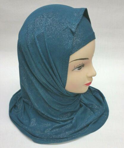 51 Kopftuch glänzend Hijab Tuch islam Muslim Türban Esarp Sal Khimar blau