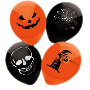 15-HALLOWEEN-BALLOONS-BLACK-ORANGE-COBWEB-FANCY-DRESS-PARTY-SPOOKY-DECORATION