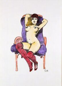 Leone-Frollo-2009-Di-litho-watercolor-on-paper-039-frivola-nuda-039-unauthor-copy-COA
