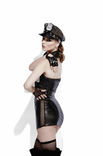 Smiffy/'s Ladies Lingerie Fancy Dress NEW Fever Role-Play Cop Wet Look Costume