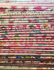 10 Fat Quarters Bundle PINK Polycotton Fabric Offcuts Scraps Remnants