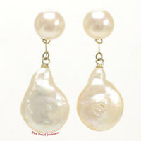 14k Yellow Solid Gold Genuine Peach Coin Cultured Pearl Dangle Earrings Tpj