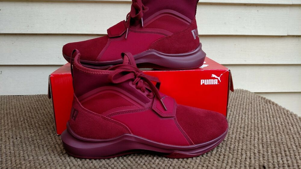 PUMA Femme PHENOM SUEDE CASUAL SNEAKER CORDOVAN MAROON BURGUNDY Taille 7 1/2 NEW