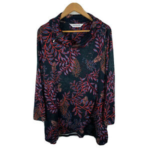 Virtuelle-Womens-Tunic-Dress-Plus-Size-Small-Black-Floral-Long-Sleeve-Gorgeous
