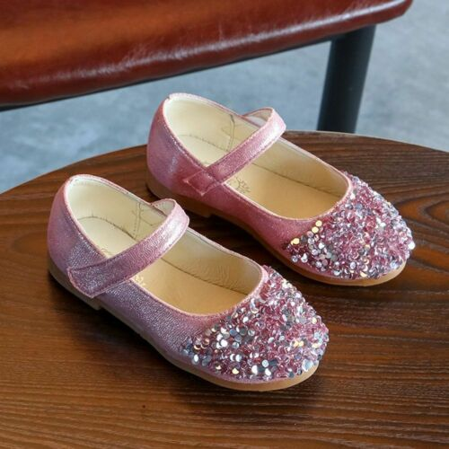 Rhinestones Small Shoes Sequins Little Princess Girls Single Sandals 3 Colors
