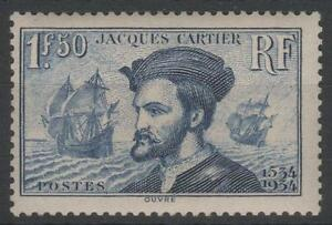 FRANCE-STAMP-TIMBRE-N-297-034-JACQUES-CARTIER-BATEAU-CANADA-1F50-034-NEUF-xx-TTB-K459