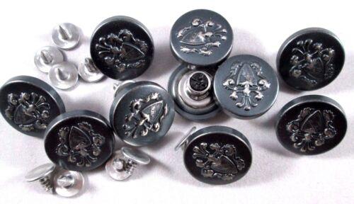 Jeans Knopf 10 stück mit Niete eisen   blank mit Wappen knöpfe 18,5 mm #69#