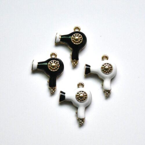 10PC Black//White Enamel Hair Dryer Charm Pendant For DIY Earrings//Bracelet Craft