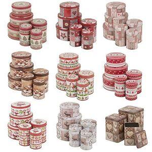 Christmas-Theme-Biscuit-Tin-Coffee-Tea-Jar-Set-Of-3-Storage-Kitchen-Dry-Food