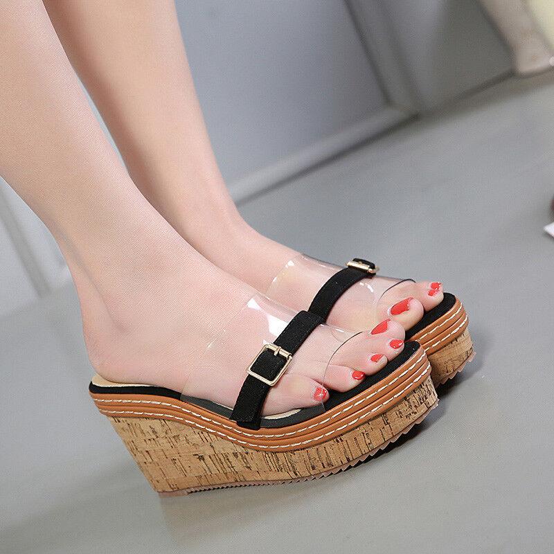 Sandale élégant sabot compensé chaussons 9 noir confortable comme cuir 9813