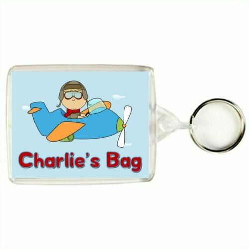 Bag Tag Personalised BOY FLYING AN AIRPLANE Keyring