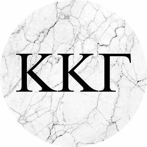Kappa Kappa Gamma KKG Black and White Marble with Letters Sticker Decal