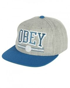 acd6e05b13e OBEY ATHLETICS HEATHER GREY BLUE SNAPBACK HAT CAP 100% AUTHETIC NEW ...