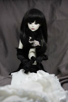 Doll Wig Straight Natural Black Bjd Ball Jointed Doll Size 6-7, 8-9