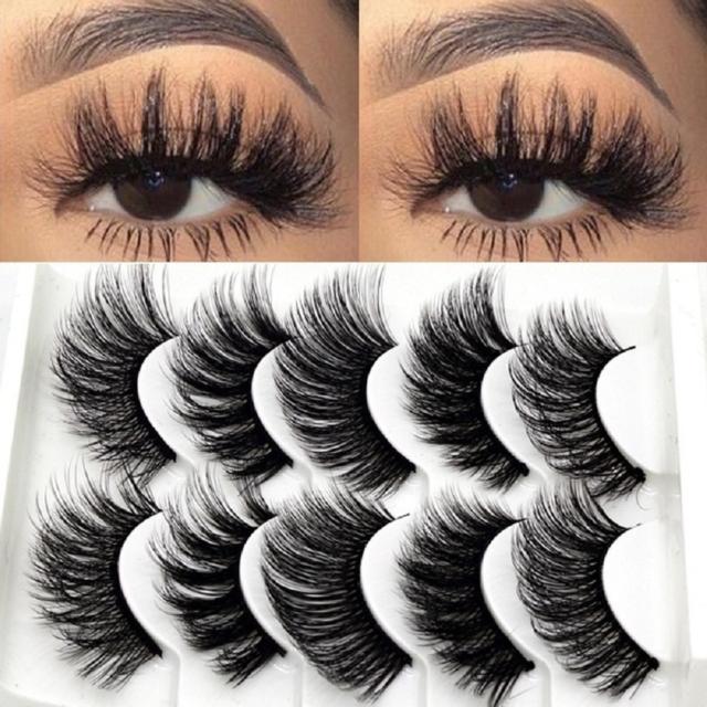 5 Pairs Top 3D 100% Mink Soft Long Thick Makeup Eye Lashes False Eyelashes