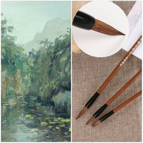Artist Tool Wolf/'s Hair Wooden Handle Watercolor Pen Oil Painting Brushes