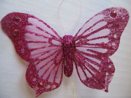 12 x wired glittered feather butterflies floral arrangements wedding decoration