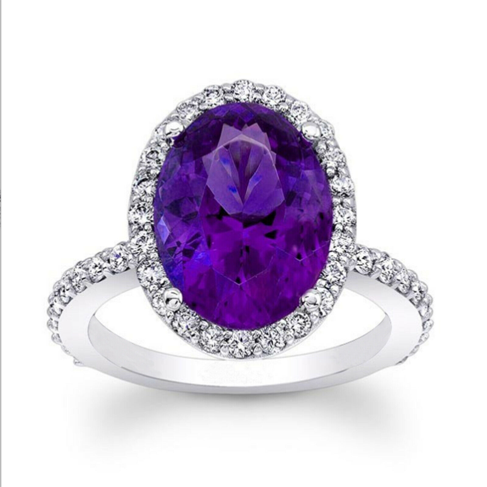 14K Solid White gold Oval 4.50 Ct Diamond Amethyst Wedding Ring Size 6 5 7 8