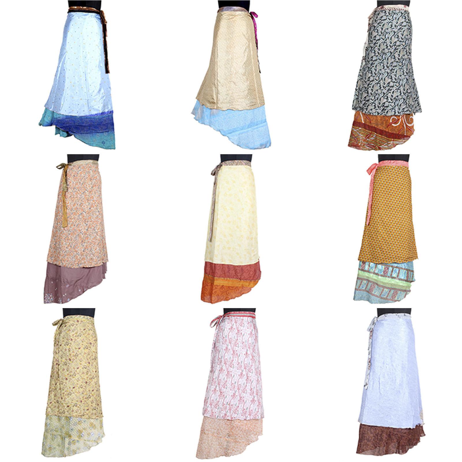 5 Pcs Mix Skirt Lot Beach Wear Vintage Silk Saree Magic 38  Long Length Wrap