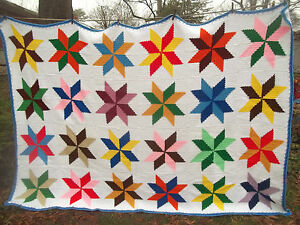 STAR amish QUILT design inspired CROCHET AFGHAN bedspread ...