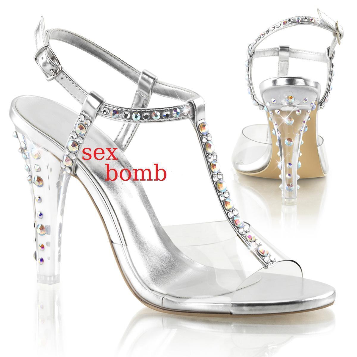 SEXY sandali STRASS tacco 11,5 dal 35 al 42 TRASPARENTE/ARGENTO scarpe GLAMOUR !