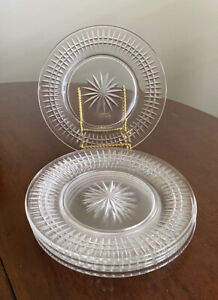 Set-of-6-Crystal-Cut-Glass-8-3-4-034-Clear-Round-PLATES-Star-Ridges-Pickets