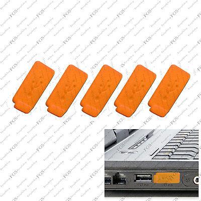 5 x Orange Color RUBBER SILICONE ANTI-DUST USB PLUG COVER STOPPER for PC Laptop