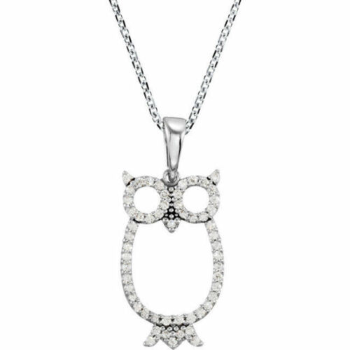 "Diamond Owl 16"" Necklace In 14K Yellow Gold 14 ct. tw"