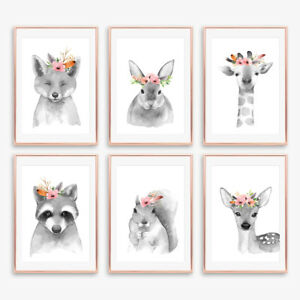 Gris-neutre-Floral-Boho-Nurserie-animale-Empreintes-Enfants-Chambre-A-Coucher-Decoration-Photos