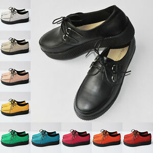 LOVELY-GRILS-LADIES-WOMENS-PLATFORM-LACE-UP-FLATS-CREEPERS-PUNK-SHOES-AU-3-5-8-5