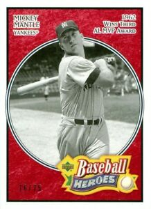 2005-UPPER-DECK-BASEBALL-HEROES-163-MICKEY-MANTLE-RED-PARALLEL-SP-UD-16-75