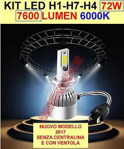 Kit h4 lampade a led cree full led 7600 lumen 6000k 72 for Lampade a led lumen