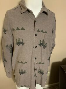 VTG-True-Grit-Wildlife-Bear-All-Over-Print-L-S-Thick-Mens-Button-Down-Shirt-M