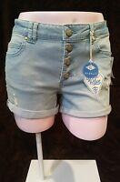 Sadie Robertson, Wild Blue Denim Rolled Hem 4 Button Shorts, Size 5