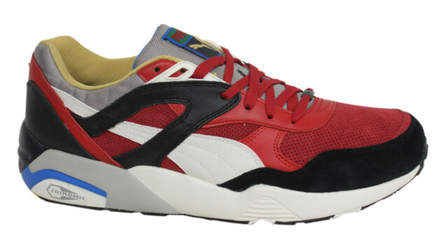 Puma Trinomic R698 Flag Lace Up Mens Red Black Leather Trainers 361450 03  D55 3923ca2a5dbf