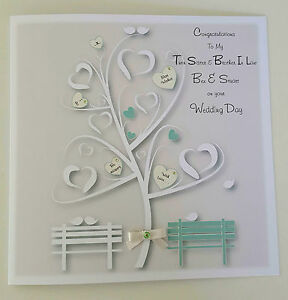personalised wedding day card sage ivory twin sister brother in