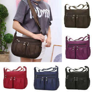 Women-Solid-Zipper-Waterproof-Nylon-Messenger-Shoulder-Bag-Crossbody-Bag-Tote-HO