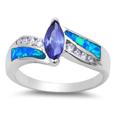 Tanzanite, Blue Opal, & Cubic Zirconia .925 Sterling Silver Ring Sizes 5-10