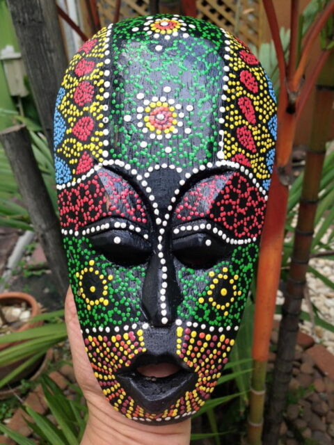 mask african tribal dot aboriginal hand carved painted art face