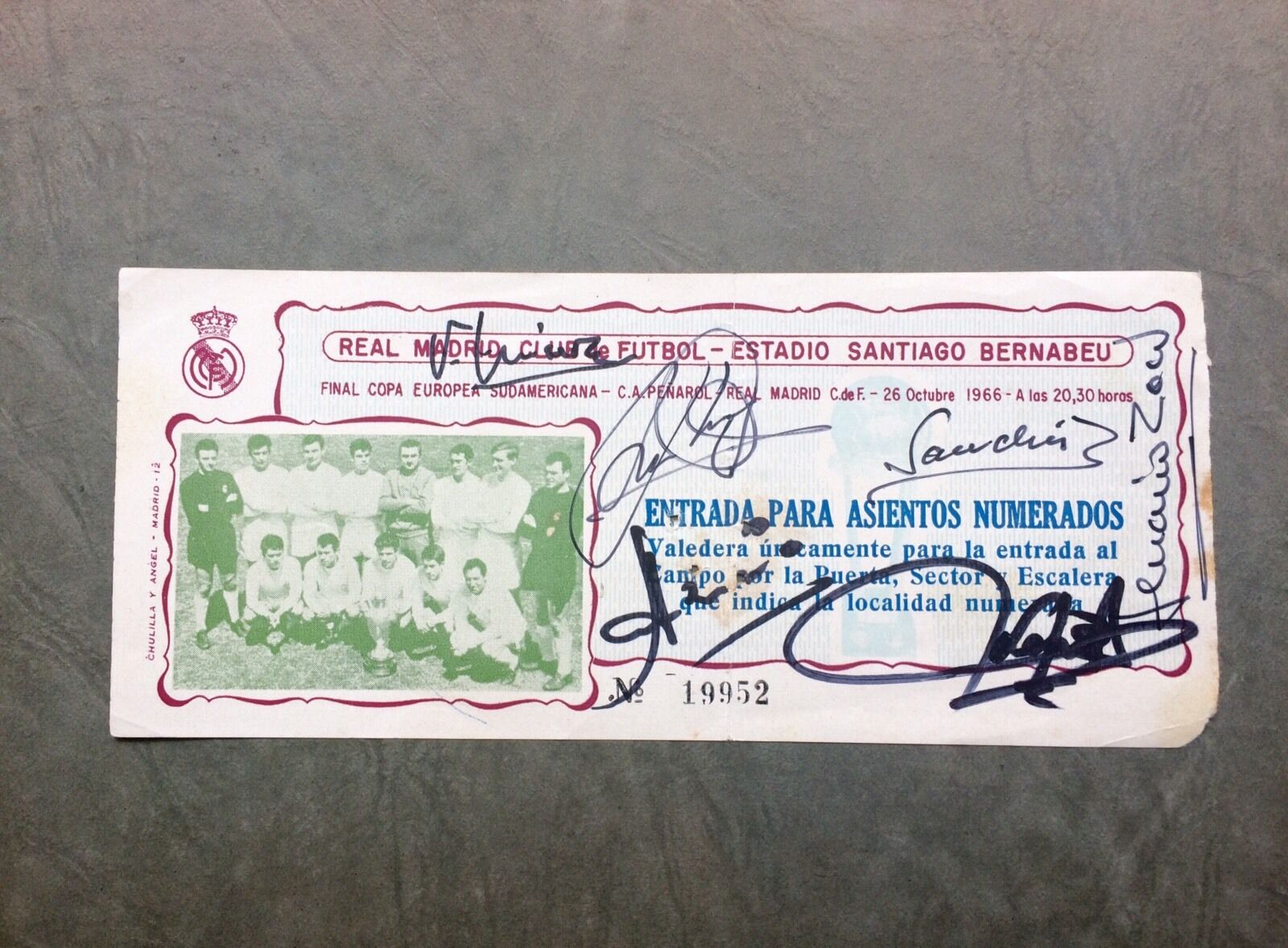 Ticket Final I Intercontinental 4-9-66 Real Madrid Peñarol 6 Hand Signed