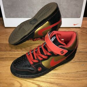 df16a94aaf Nike Dunk Mid Pro SB Mens Size 11 Money Cat Black Chile Red 314383 ...