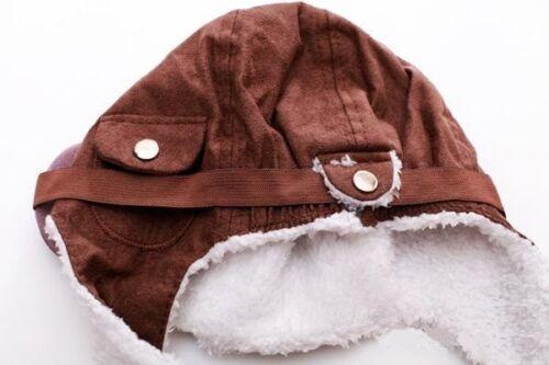 KIDS TODDLER CHILD PILOT GOGGLES AVIATOR FLEECE SOFT WARM HAT CAP WARM EARMUFFS