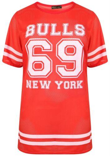 New Womens Fluorescent Air Tech 69 Number Print Baggy Neon T-Shirts 8-26